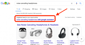 Google suggesting searches based on users 'recent activity